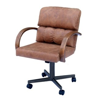 Casual Dining Brown Cushion Swivel and Tilt Rolling Kitchen Chair
