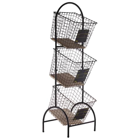 UTC52164: Metal Cart with 3 Tier Baskets and Wood Surface Coated Finish Black