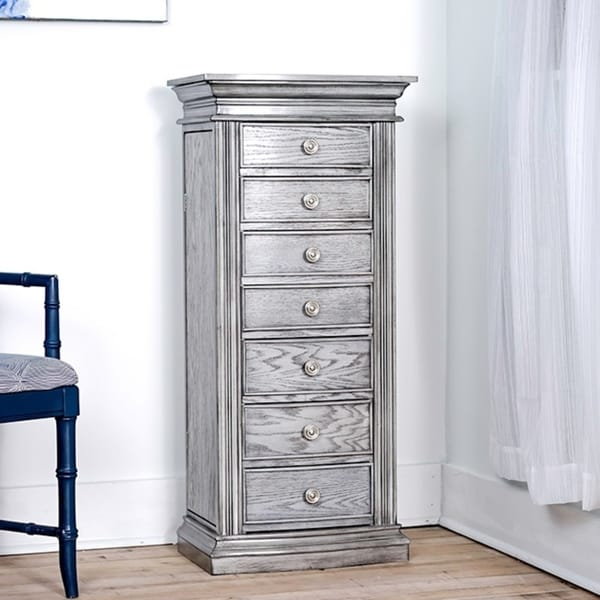 Shop Hives & Honey Landry Grey Jewelry Armoire with Mirror ...