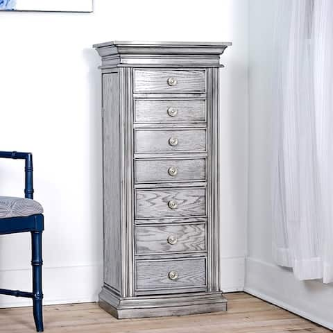 Hives & Honey Landry Grey Jewelry Armoire with Mirror and Storage