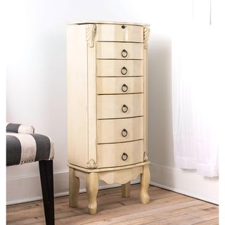 Hives & Honey Bordeaux Ivory Jewelry Armoire Jewelry Cabinet with Mirror and Storage