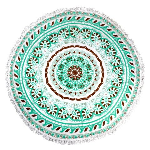 Couture Home Collection Thick Round Green Yoga Mat Mandala Beach Towel