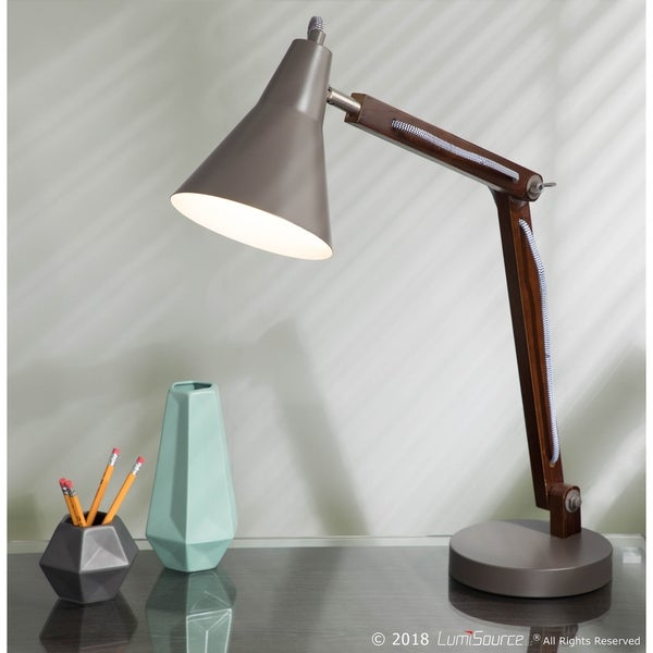 Oregon Industrial Adjustable Wood & Metal Table Lamp