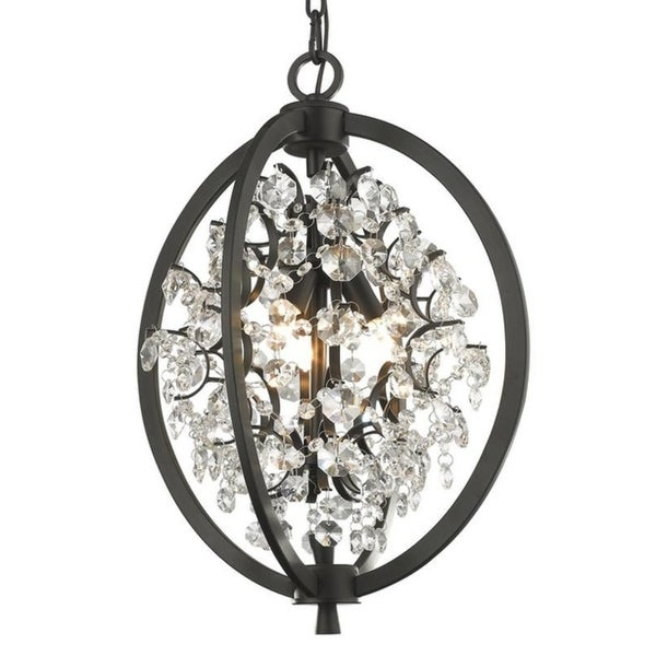 Avalon Bronze Finished Metal/Crystal Dimmable 3-light Pendant
