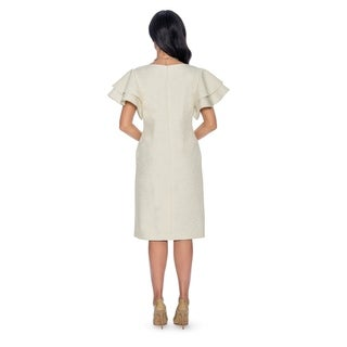 Giovanna Collection Women's Lotus Leaf Sleeve Brocade Shift Dress