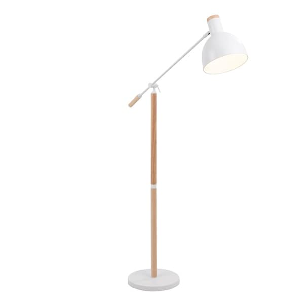 Pix Contemporary Floor Lamp in Natural Wood and Matte White Metal