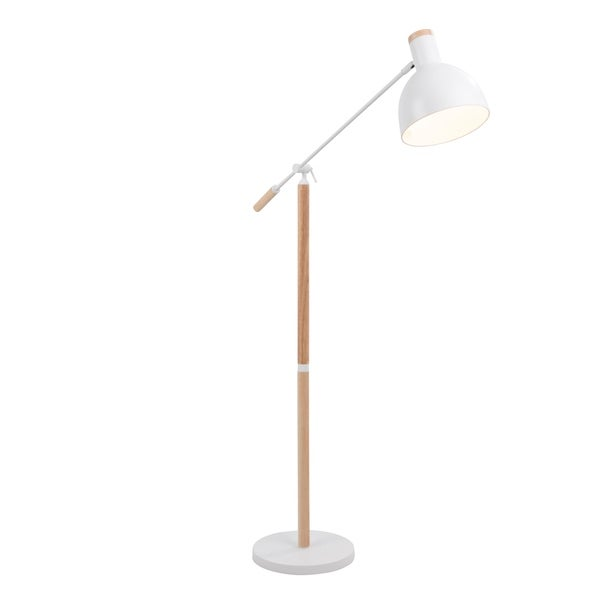 Shop Pix Contemporary Floor Lamp In Natural Wood And Matte White