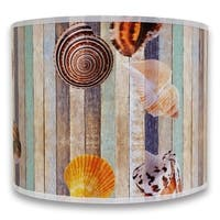 Royal Designs Modern Trendy Decorative Handmade Lamp Shade - - Seashell on Colorful Wood Design - 10 x 10 x 8