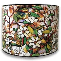 Royal Designs Modern Trendy Decorative Handmade Lamp Shade - - Magnolia Stained Glass Design - 10 x 10 x 8