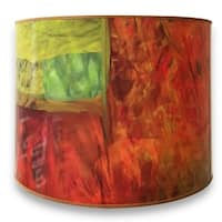 Royal Designs Modern Trendy Decorative Handmade Lamp Shade - - Warm Tone Minimalist Painting Design - 10 x 10 x 8