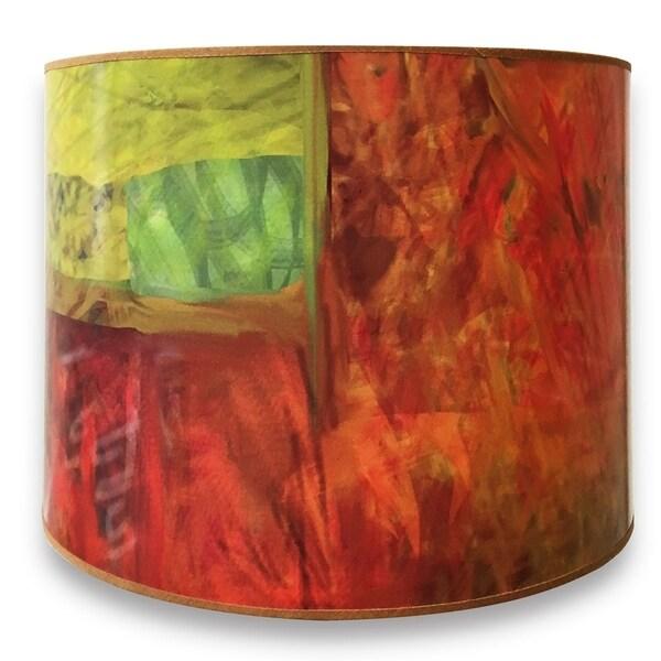 Royal Designs Modern Trendy Decorative Handmade Lamp Shade - Made in USA - Warm Tone Minimalist Painting Design - 10 x 10 x 8