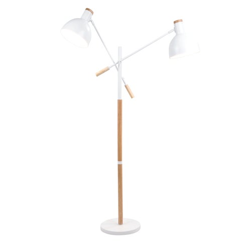 Pix Duo Contemporary Floor Lamp in Natural Wood and Matte White