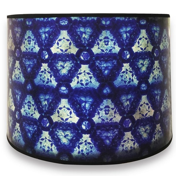 Royal Designs Modern Trendy Decorative Handmade Lamp Shade - Made in USA - Blue Kaleidoscope Design - 10 x 10 x 8