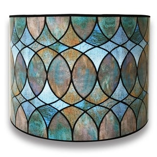 Royal Designs Modern Trendy Decorative Handmade Lamp Shade - - Cool Hues Watercolor Design - 10 x 10 x 8