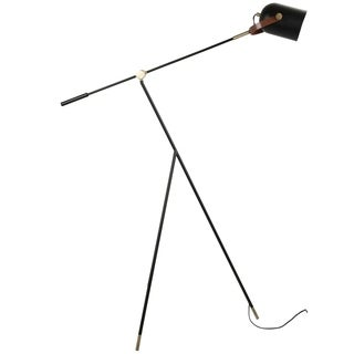 Hayward Industrial Tripod Floor Lamp in Black and Gold