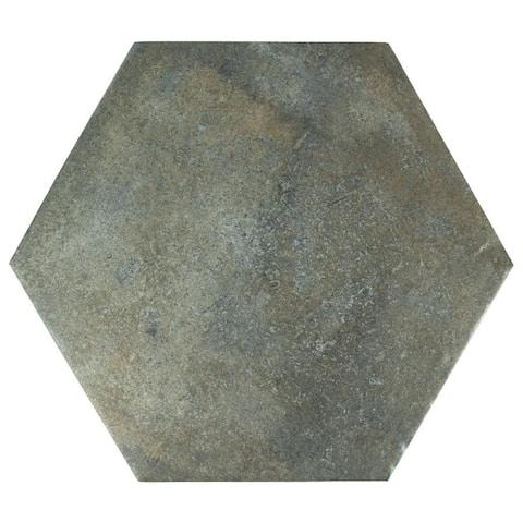 SomerTile 14.125x16.25-inch Tremont Ferro Hex Ombra Porcelain Floor and Wall Tile (9 tiles/11.5 sqft.)