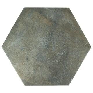 SomerTile 14.125x16.25-inch Tremont Ferro Hex Ombra Porcelain Floor and Wall Tile (9 tiles/11.4 sqft.)