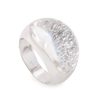 Cartier Myst White Gold Diamond and Crystal Bombe Ring