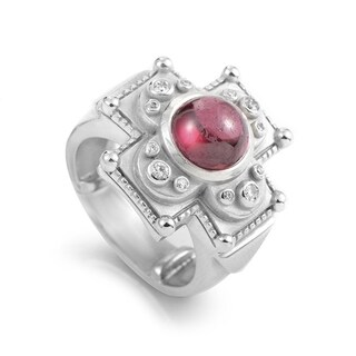 Kieselstein-Cord Women's White Gold Tourmaline & Diamond Carved Cross Ring