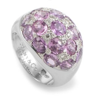 Pre-owned Tiffany & Co. White Gold Pink Tourmaline & Diamond Dome Ring