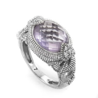 Judith Ripka White Gold Amethyst & Diamond Ring