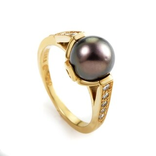 Kabana Yellow Gold Black Pearl & Diamond Ring