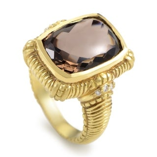 Judith Ripka Yellow Gold Diamond & Smokey Topaz Ring