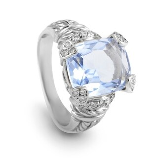 Judith Ripka Women's White Gold Diamond & Blue Quartz Ring