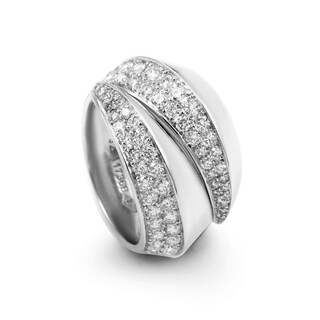 Cartier White Gold Partial Diamond Pave Split Band Ring