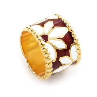Yanes Yelllow Gold Floral Enamel Band Ring