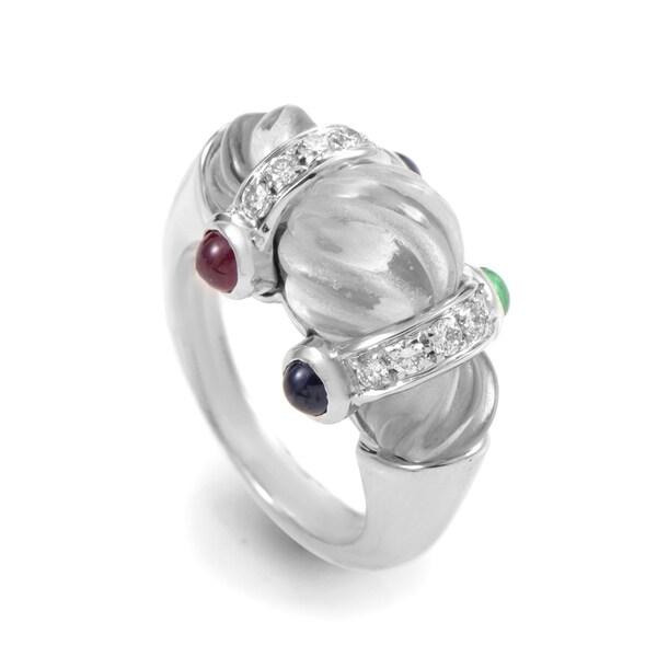 Boucheron White Gold Crystal & Gemstone Ring