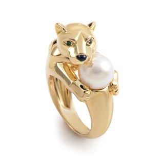 Cartier Panthere Womens Yellow Gold Pearl Ring