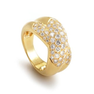 Cartier Women's Yellow Gold Partial Diamond Pave Ring