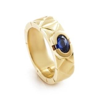 Chanel Matelasse Women's Yellow Gold Sapphire Cabochon Band Ring