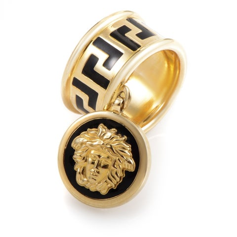 Versace Yellow Gold Enamel Medusa Head Charm Ring