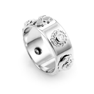 Chanel Camelia White Gold Diamond Band Ring AK1B985