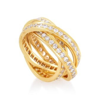 Cartier Trinity Yellow Gold Full Pave 3-Band Ring