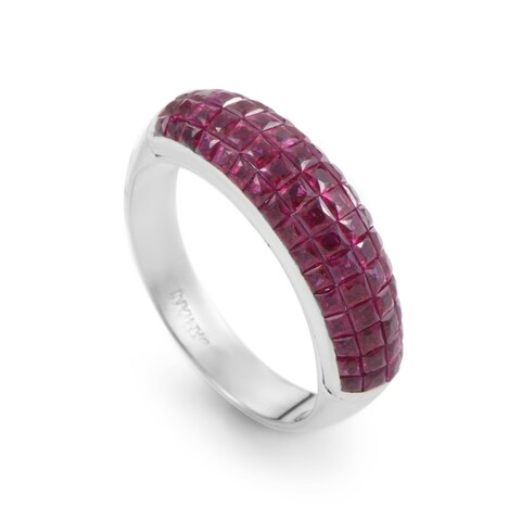 Damiani Womens White Gold Invisible Set Ruby Band Ring