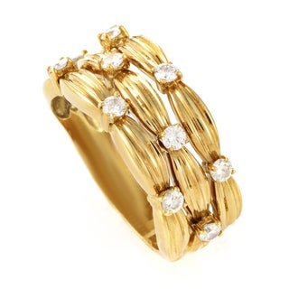 Pre-owned Tiffany & Co. Yellow Gold Three-row Diamond Band Ring