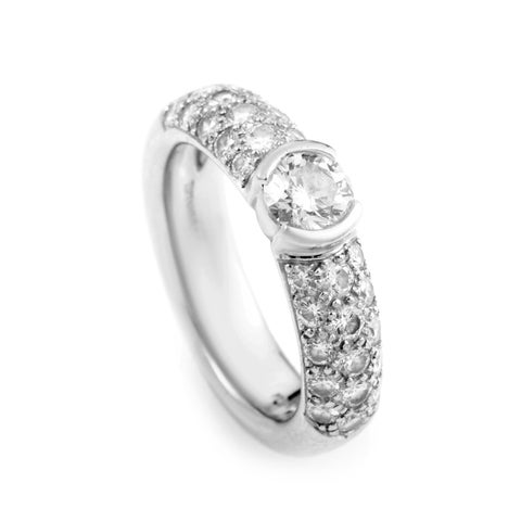 Pre-owned Tiffany & Co. Etoile Platinum & Diamond Engagement Ring