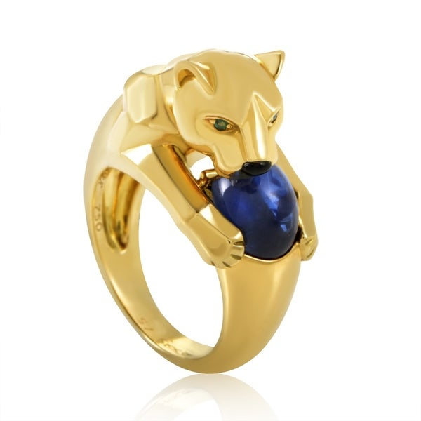 fedb89f71a3 Shop Cartier Panthere Yellow Gold Sapphire Ring - On Sale - Free ...