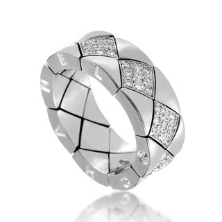 Chanel Matelasse Women's White Gold Diamond Band Ring AK1B2954