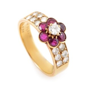 Van Cleef & Arpels Fleurette Yellow Gold Diamond & Ruby Flower Ring