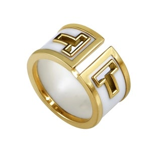 Pre-owned Tiffany & Co. Yellow Gold White Onyx Band Ring