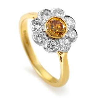Garrard Multi-Tone Gold Orange & White Diamond Flower Ring