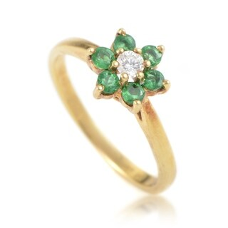 Pre-owned Tiffany & Co. Womens Yellow Gold Diamond and Emerald Flower Ring