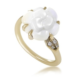 Chanel Camelia Women's White Gold Diamond White Agate Flower Ring AK1B3634