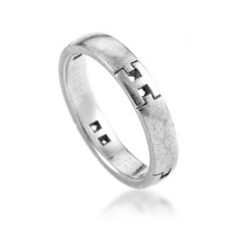 Hermès Women's White Gold 4 H Thin Band Ring AK1B3684 - Size 5.25