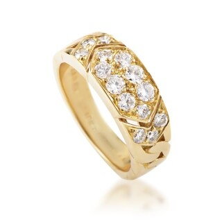 Van Cleef & Arpels Women's Yellow Gold Diamond Pave Band Ring