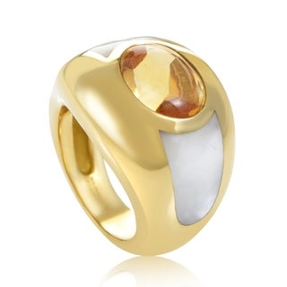 Mauboussin Women's Yellow Gold Citrine & Mother of Pearl Ring